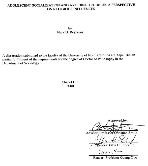 Regnerus dissertation